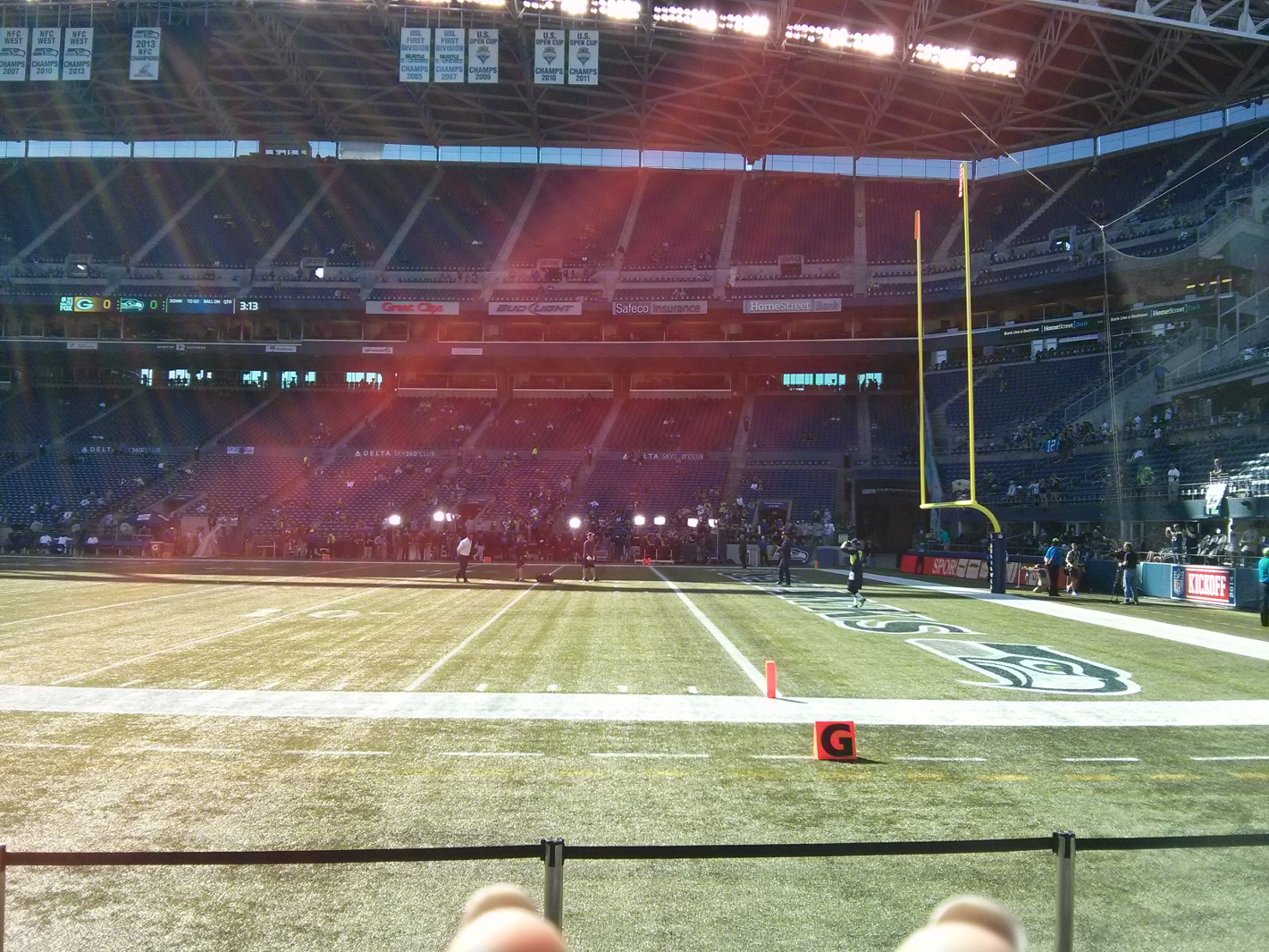 Sept 4th 2014, 1st game of the season.  Seahawks vs. Packers.  Row A at the end zone, we did it big.